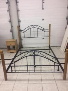REDUCED!  Queen size bed frame, headboard/footboard, night table