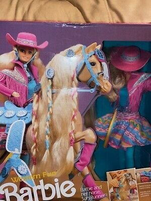 Vintage Western Fun Barbie Gift Set With Horse Sun Runner Sealed Unopened Box