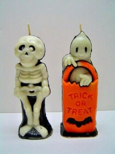 Lot 2 Vtg Halloween Gurley Glow in the Dark Candles Trick or Treat Skeleton EXC