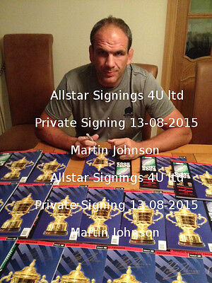 Martin Johnson Signed England 2003 RWC Rugby World Cup Final Programme Proof