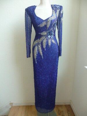 Carina Full Length Royal Blue Silk Beaded Dress