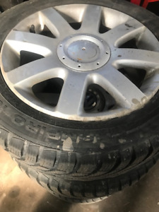 "Used VW 16"" alloy wheels with winter tires"