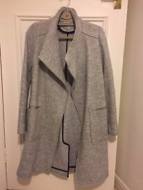 Zara grey boucle city coat with pockets. Excellent condition. Light wear.