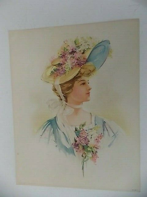 Original Victorian Lithograph Lady With Flowered Hat 98 A Copyright 1908 - $15.95