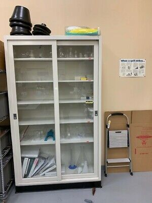 Laboratory Storage Cabinet 2 Sided Glass Sliding Doors 48x36x84