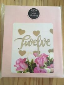 Wedding wooden table numbers. Brand new! Still in box!