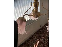 retro style light fitting pink shade in brass