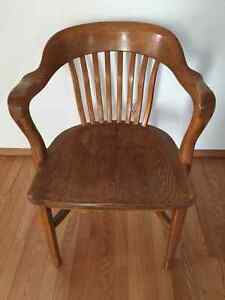 Antique Vintage Lawyers Bankers Library Oak Chair