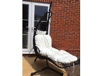 Outsunny wicker frame Rattan style swinging helicopter garden chair/lounger