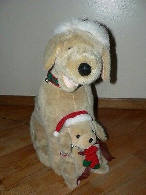 """24"""" Santa's Best Animated Christmas Dog And Puppy Retriever Lab Tail Wags! RARE!"""