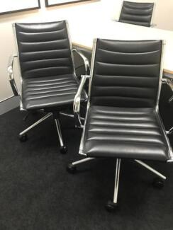 Office Chairs - Chrome & Black Leather
