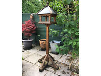 Bird Table Wooden Garden Table With Slate Roof Large Bird Feeder Stand Wildlife Birds and Squirrels