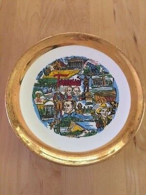 Tennessee State Souvenir Plate - Gold Rim