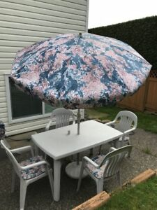 Patio Table, Umbrella and Chairs