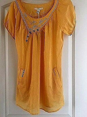 New  Anthropologie Trinity 100  Cotton Embroidered Appliqued Smock Top   S  110