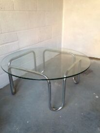 Classic glass & chrome coffee table from Pieff.