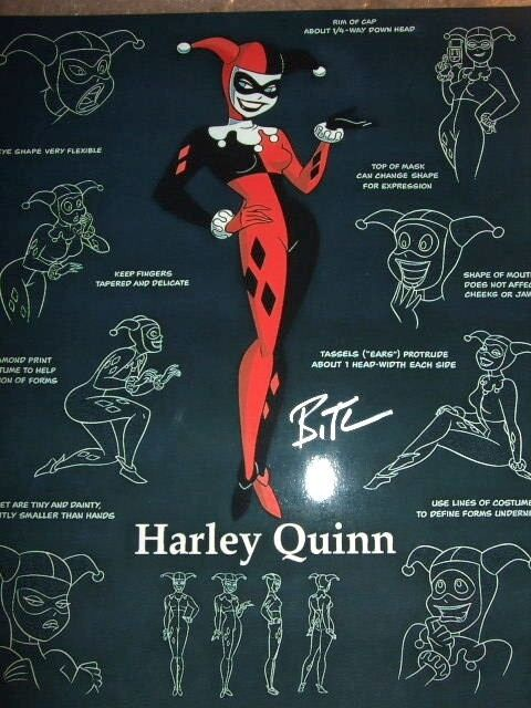 Hand Signed Bruce Timm Signed Warner Bros CoA Batman Mr Joker Harley Quinn