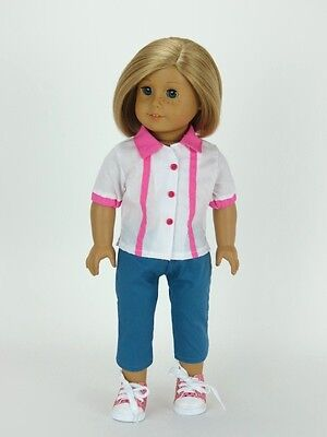 BOWLING OUTFIT: WHITE SHIRT with Pink Stripes + BLUE PANTS fits American Girl
