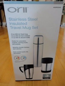 Brand new in box stainless steel 3 piece thermos travel mug