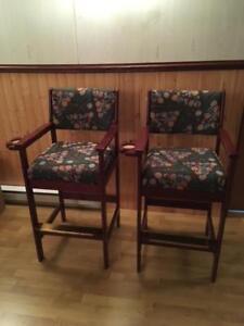 Two pool hall stools