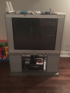 "Toshiba flat screen tube TV 36"" & stand"
