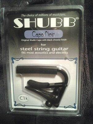Shubb C1k Steel String Guitar Capo Black Chrome Finish NIB FREE Shipping