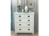 Antique Victorian chest of drawers/tallboy in shabby chic style