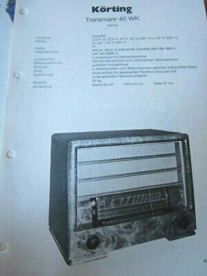 Schaltplan Radio Körting Transmare 40 WK 1940/41 segunda mano  Embacar hacia Argentina