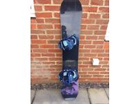 Burton women's Feelgood 52 Snowboard, complete with matching Burton Custom bindings
