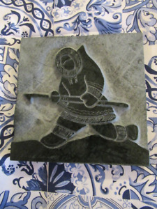 Inuit Art by David Bernett Original Green Marble Relief Sculptur