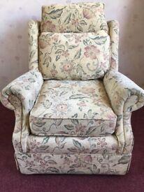 2 lounge chairs plus matching pouffe