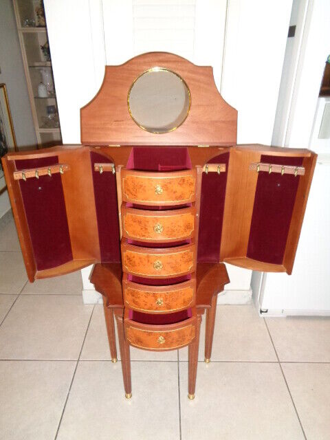 """Faberge Heirloom Furniture Standing Wooden Jewelry Cabinet (39.5 by 22 by 12"""")"""