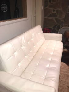 Sofa-Bed-Real White Leather  in Excellent Condition