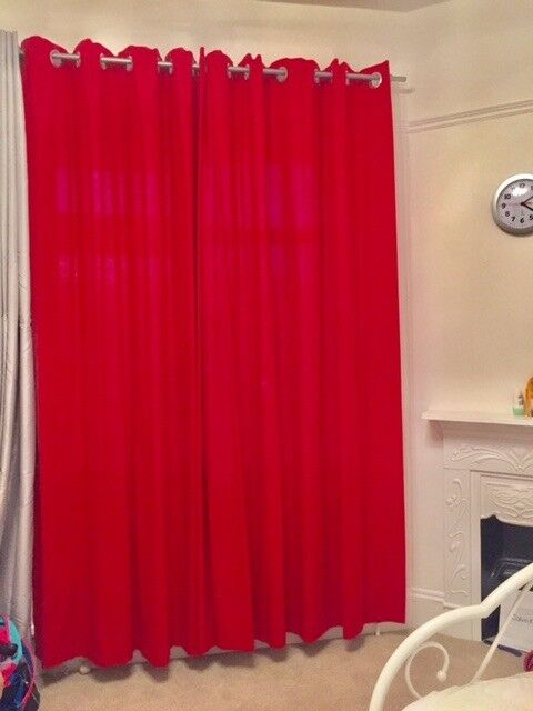 Red Curtains with eyelets
