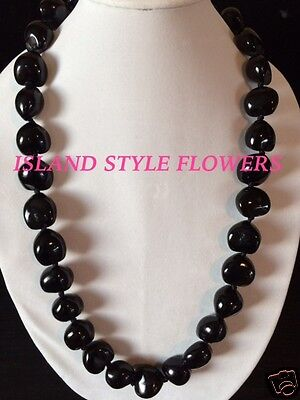 Hawaii Wedding BLACK Kukui Nut Lei Graduation Luau Hula Jewelry Necklace