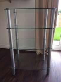 Glass stand for TV DVD chrome legs very good condition