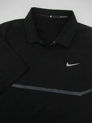 Mens Medium Nike TW Tiger Woods Elite Cool Carbon Polo black snap shirt