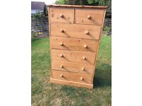 Large, solid pine chest of drawers (4 + 2)