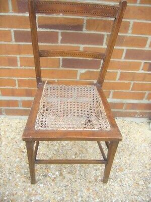 ANTIQUE VICTORIAN MAHOGANY INLAID CANED CHAIR - FOR  RESTORATION