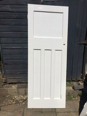 WHITE INTERNAL DOOR SECOND HAND HARDWOOD 74CM X 195 4 PANEL DOOR 2