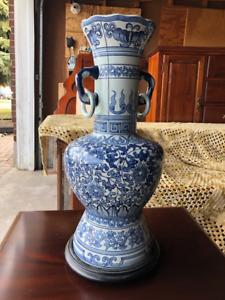 "Gorgeous Authentic Oriental Style Vase, Blue & White ~24""H X 11"