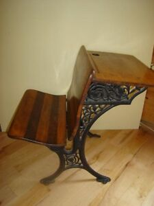 Early 20thC. Vintage Wrought-Iron School Desk