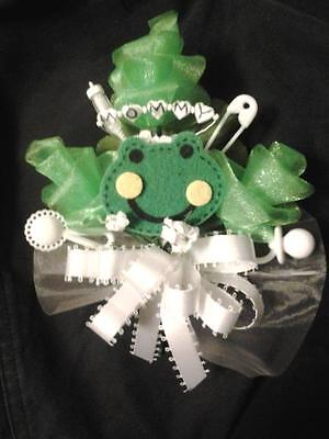 Baby shower MOMMY or DADDY frog boy girl corsage or boutonniere  - Boys Boutonniere