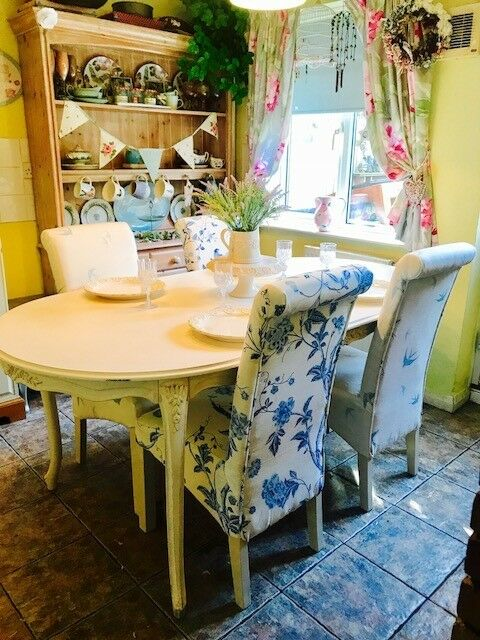 Stunning French Shabby Chic Dining Table 4 Upholstered Oak Chairs Laura Ashley
