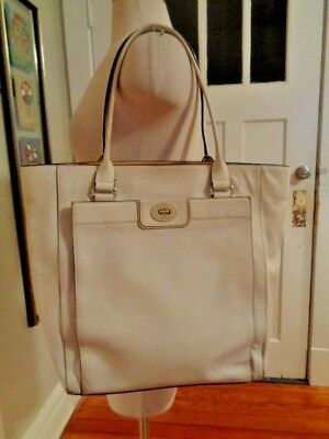 KATE SPADE New York ivory 100% cow leather tote shopper large outer pocket - New York Leather Shopper