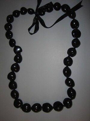Hawaiian Black Kukui Nut Lei Luau Boho Bead Necklace