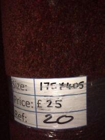 Dark Red Short Pile Carpet Remnant (1.75 x 4.05 metres) for £25 REF: 020