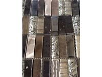 CLEARANCE Black tile, patterned glass and chrome mosaic off cuts , crafts