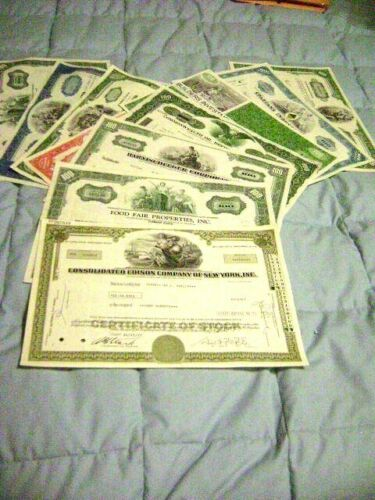 Lot of 10 Stock Certificates  At least 10 different companies