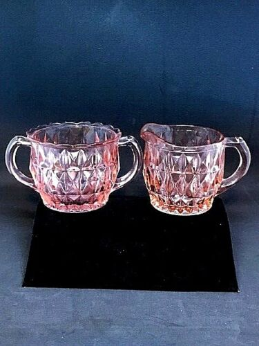 "VINTAGE PINK DEPRESSION GLASS ""WINDSOR DIAMOND"" CREAMER & SUGAR, ORIGINAL"
